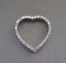 SPARKLING 14K WHITE GOLD.32 TCW ROUND DIAMOND PAVE OPEN HEART PENDANT -