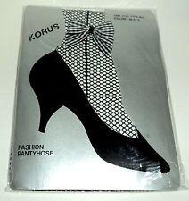 "KORUS BLACK Fishnet Pantyhose With Ankle Bow Fits: 5'-5'8"" & 100-165 lbs. NIP"
