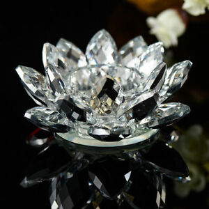 Clear Crystal Glass Lotus Flower Candle Tea Light Holder Candle stick Decor Gift
