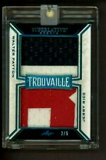 2/5 Walter Payton Jerry Rice 2020 LEAF Trouvaille GAME USED Football JERSEY Card