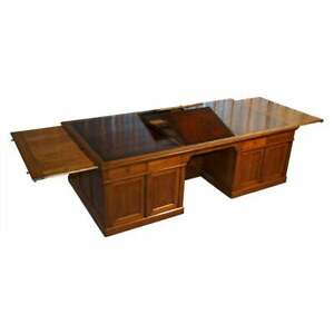 RARE MONUMENTAL VICTORIAN RESTORED OAK BROWN LEATHER PARTNER DESK WRITING SLOPES
