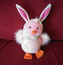 Gemmy Animated Chick w/Bunny Ears Pink Plush Sings & Moves to Easter Bunny Hop