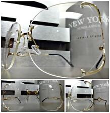 New OVERSIZED VINTAGE RETRO Style Clear Lens EYE GLASSES Huge Rimless Gold Frame