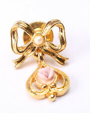 Avon Gold Tone Bow and Pink Rose Pin, Vintage 1970s