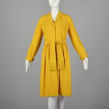 M Yellow Dress 1970s Long Sleeve Collared Fringe Belted Shirtdress Boho 70s Vtg