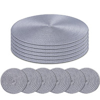 Homcomodar Round Placemats and Coasters Set of 6 Braided Woven Table Place Mats