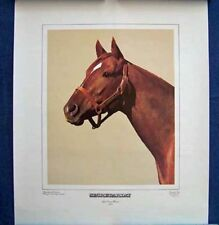 SECRETARIAT - BEAUTIFUL 1974 20X24 INCH HORSE RACING LITHOGRAPH BY TONY LEONARD!
