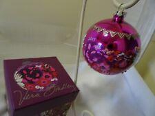 """Vera Bradley 4"""" Glass Christmas  Ornament-2015-ROSEWOOD-NWOT-In Original Box"""