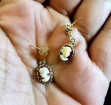 14kt Yellow Gold Dangling Victorian Style Cameo Earring