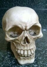 Halloween Skull Skeleton head Life Like  With Flashing Eyes Ornament Made Resin
