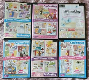 Bundle 6 CD Rom Printable Graphics Card Making Crafts Papers Fonts Elements