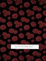 Holiday Christmas Fabric - Red Poinsettia Flowers on Black - Cotton YARD