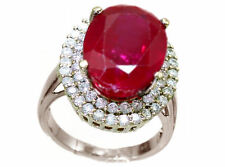 18 Carat Cluster Ruby White Gold Fine Rings