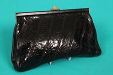 Vintage' Jane Shilton' Nero pelle di Serpente Pochette / Borsa a Spalla