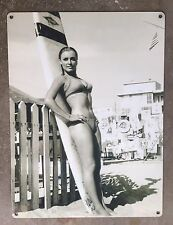 Sharon Tate Pinup Sexy Surfer Girl Jacobs Surfboard Vintage Photo Metal Sign