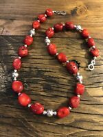 """#1145 Classic Red Coral, Navajo Silver Beads, 18"""" Necklace, 925 Hook Eye Clasp"""