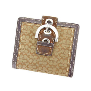Coach Wallet Purse Signature Beige Brown Woman Authentic Used Y3510