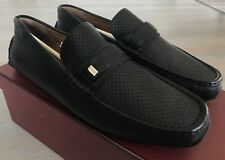 600$ Bally Pryce Black Perforated Leather Driver Size US 12.5 Made in Italy