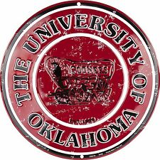"University of Oklahoma Sooners Embossed 12"" Metal Circle Sign"