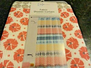 new textured weave Fabric ~SHOWER CURTAIN melon blue tan striped floral geo