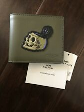 COACH Disney Skull Men's Double Bill Bifold Wallet ARMY GREEN NWT!