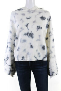 360 Cashmere Womens Long Sleeve Printed Hoodie White Grey Size Medium