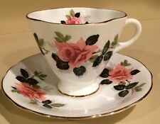 Clarence Pink Rose With Black and Green Leaves Scalloped Tea Cup And Saucer