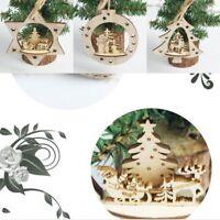 Christmas Santa Claus Wooden Pendant Ornaments House Wood Craft Xmas Tree Decor