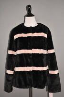 RACHEL PARCELL NEW $149 Stripe Faux Fur Jacket in Black Pink Smoke Small