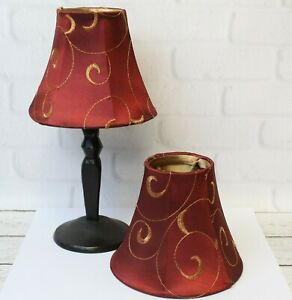 Pair (2) Silk Chinese Red & Gold Swirl Clip On Bell Lamp Shade Chandelier