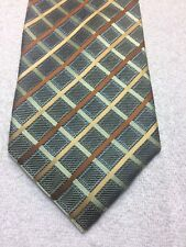 ROBERTO VILLINI MENS TIE GREEN WITH BROWN AND GOLD STRIPES 4 X 60 NWOT