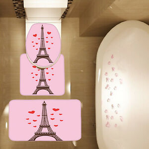3 Piece Bathroom Mat Set Love Red Hearts Paris Tower Contour Mat Toilet Cover