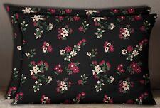 Black Floral Decorative Cotton Poplin Rectangle 1 Pair Sham Cushion Cover Case