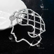 18K WHITE GOLD MADE WITH SWAROVSKI CRYSTAL ABSTRACT FACE CONTOUR BEAUTY BROOCH