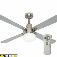 Mercator Kimberley 1200mm Brushed Chrome Ceiling Fan Light & Remote FC132128RBC