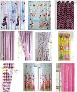 Girls Kids Bedroom Curtains, Frozen Butterflies Peppa Fairies Pink Floral
