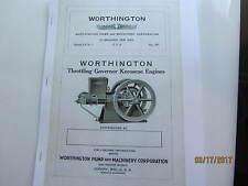 1921 Worthington Kero 1 1/2 to 25hp  Engine  Instruction/Type Catalog Manual
