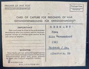 1945 USA German POW Camp Postcard Cover to Limbach Germany Kurt Hatzendorf