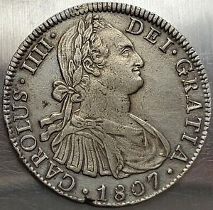 8 Reales 1807 TH Carlos IV HISPAN Mexico Colonial Highly Grade !! KM# 109