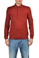 Gucci Men's Reddish Brown 100% Wool Long Sleeve Polo Shirt Size US M IT 50