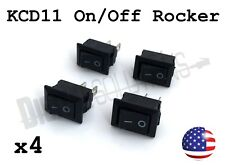 (4) KCD11 On/Off Rocker Switch 2-pin SPST - 3A 250V 15x10mm - 4 Pack