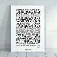Beautiful Song Lyrics Print Poster (Unframed) Wall Art Decor Typography Gift