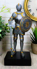 """Medieval Knight Statue 9""""H With Heraldic Royal Lion Shield And Axe Suit Of Armor"""