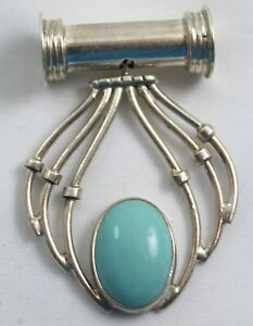 Sterling Silver Slide Necklace Pendant w/ Oval Turquoise Stone