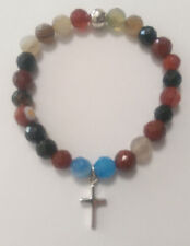 Agate Semiprecious Stone beaded Bracelet With Sterling Silver cross charm