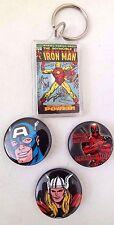 Marvel Thor Deadpool Captain America Pin & Iron Man Key Chain 4 Piece Set NEW