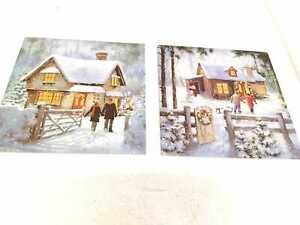 10X WINTER CHRISMAS COTTAGE CARDS TWO DESIGNS IN EACH PACK WITH GOLD DECORATION