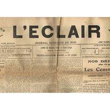 L'ÉCLAIR 25-10-1915 BEAUCAIRE Naissance Pauline BOI et  Élio GEMMI Fête à BAGNOL