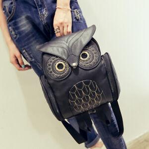 Frauen Eule Rucksack Geprägte Reißverschluss Schultasche Daypacks BookbagSchwarz