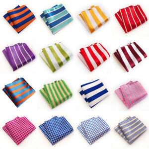 Men's Classic Striped Checks Print Handkerchief Wedding Business Pocket Square